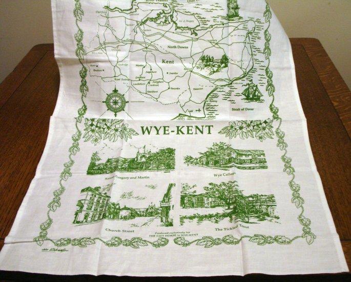 Wye-Kent souvenir tea towel cotton unused green white vintage1381vf