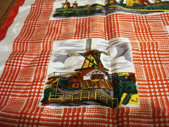 Holland windmills souvenir scarf red houndstooth synthetic vintage1382vf