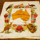Australia cotton souvenir hanky flora, fauna map unused vintage1387vf