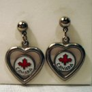 Heart Canada souvenir drop earrings silver tone enamel pierced vintage1393vf