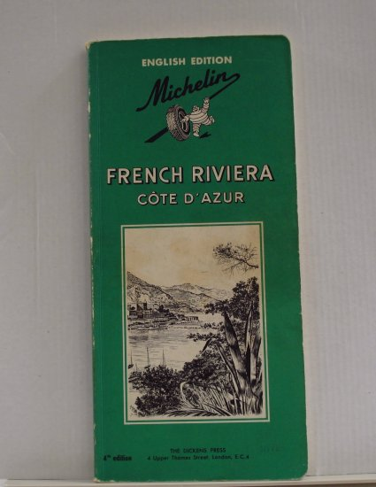 Michelin French Riviera Cote d'Azur 1967 green guide book English 4th edition used PB 1401vf