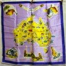 Australia souvenir scarf acetate satin Citer design purple lilac excellent vintage 1406vf
