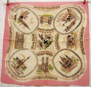 London souvenir scarf really old acetate pink with  vintage 1412vf