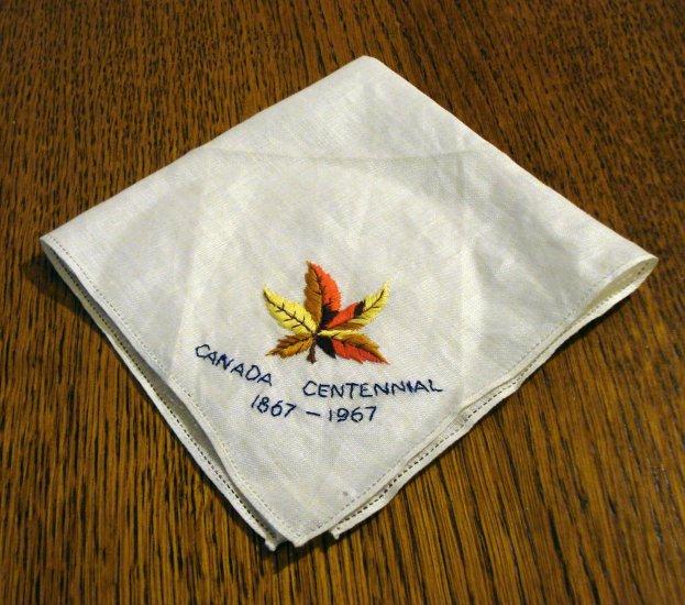 Souvenir hanky Canada Centennial 1867-1967 embroidered linen vintage 1421vf