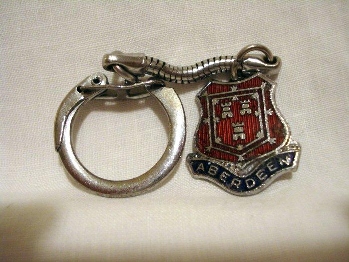 Aberdeen Scotland cloisonne silver tone key chain vintage 1425vf