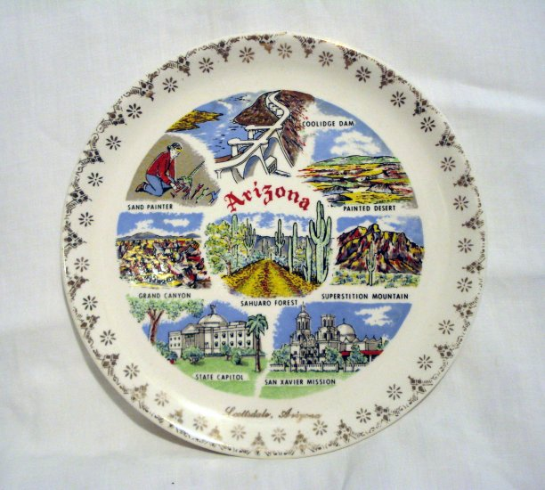 Arizona state plate souvenir Scottsdale top sites gold rim excellent vintage 1426vf