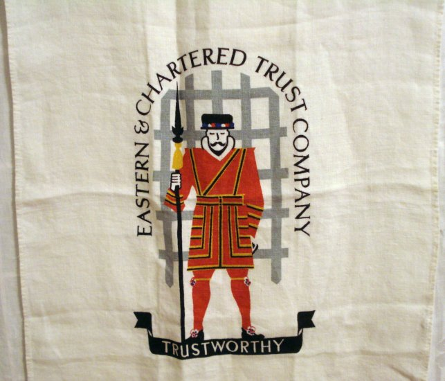 Eastern Chartered Trust Company Beefeater linen advertising towel vintage 1430vf