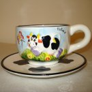 Delft Blue handpainted Holland souvenir cup saucer raised cow butterfly unused 1438vf