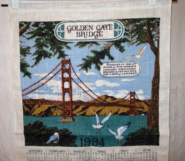 1994 Calendar souvenir towel Golden Gate Bridge Fisherman's Wharf San Francisco linen unused 1442vf