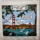 1994 Calendar souvenir towel Golden Gate Bridge Fisherman's Wharf San Francisco linen unused 1442vf