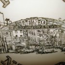Reno Nevada souvenir plate pre Vegas gold decoration vintage 1445vf