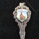 Barkerville BC Canada souvenir spoon ceramic tile church rhodium plate as new vintage 1451vf