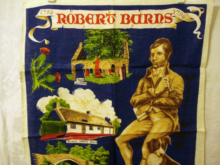 Robert Burns souvenir tea towel linen unused vintage 1458vf