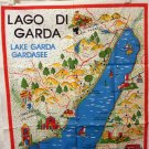 Lago di Garda Lake Garda Italy picture map souvenir tea towel cotton unused vintage 1459vf