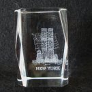 Souvenir of New York World Trade Center flag laser etched crystal perfect 1475vf
