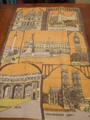 London monuments souvenir linen tea or kitchen towel used vintage 1485vf