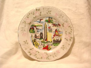 New York state souvenir plate mid 20th century porcelain vintage 1487vf