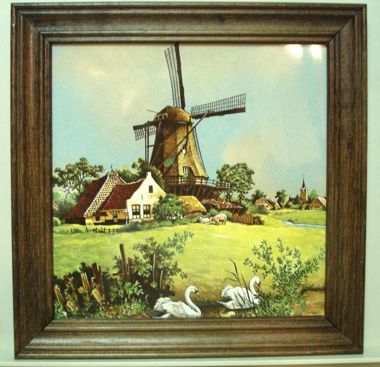 Royal Schwabap framed porcelain tile windmill swans Van Hunnick design 1984 vintage 1498vf