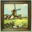 Royal Schwabap framed porcelain tile windmill swans Van Hunnick design 1984 vintage 1498vf