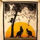Dramatic Australia souvenir tea kitchen towel or poster kangaroos koala cotton unused vintage 1501vf