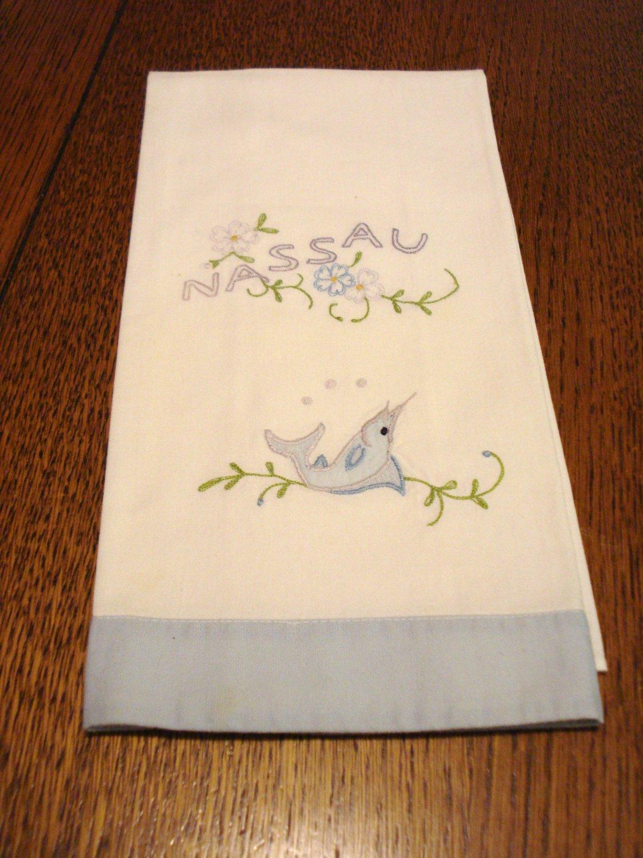 Nassau embroidered guest hand towel swordfish vintage 1502vf