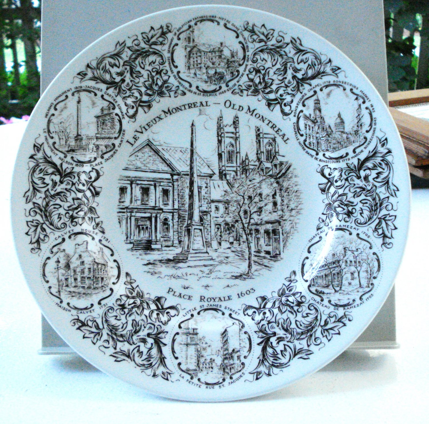 Old Montreal souvenir plate Wood & Sons ironstone England vintage 1520vf