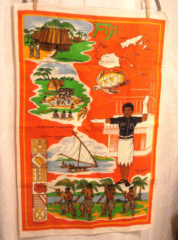 Fiji souvenir tea kitchen towel linen spear dance outrigger firewalking bures unused 1525vf