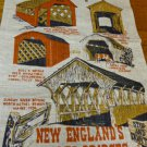 New England's Covered Bridges souvenir linen tea towel for glassware unused vintage 1557vf