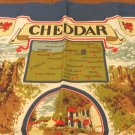 Cheddar Souvenir tea towel map and scenes all cotton excellent vintage 1570vf