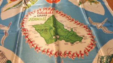 Waikiki on Oahu Hawaii souvenir scarf acetate satin unused vintage 1571vf