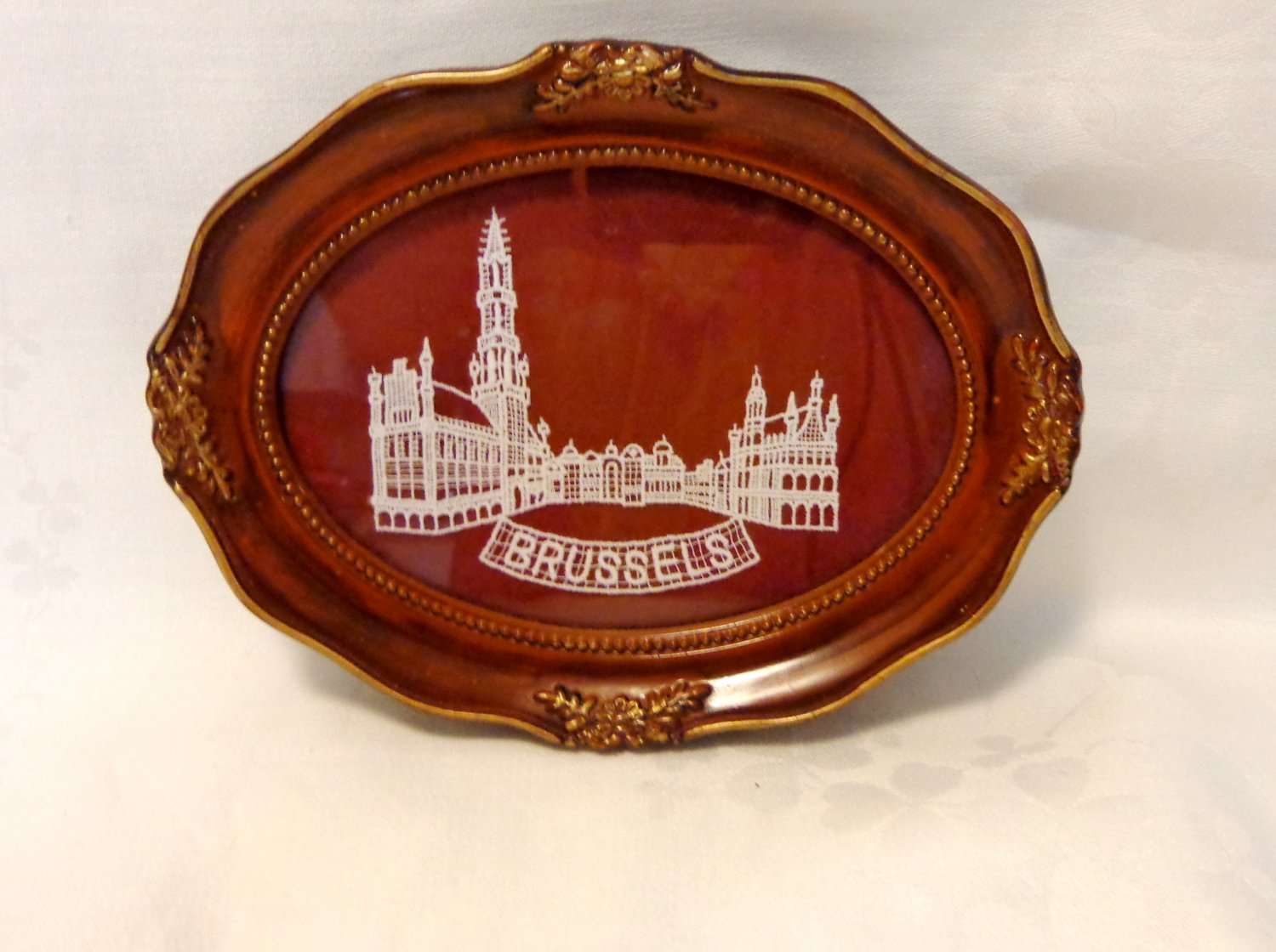 Brussels Gothic City Hall in Brussels lace framed under glass tip card tray 1572vf