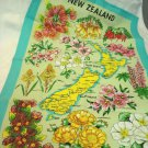Flowers of New Zealand Souvenir tea towel cotton apple green unused vintage Vista 1580vf