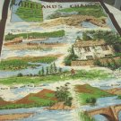 Lakeland's Charms souvenir tea towel cotton excellent vintage Clive Mayor 1583vf