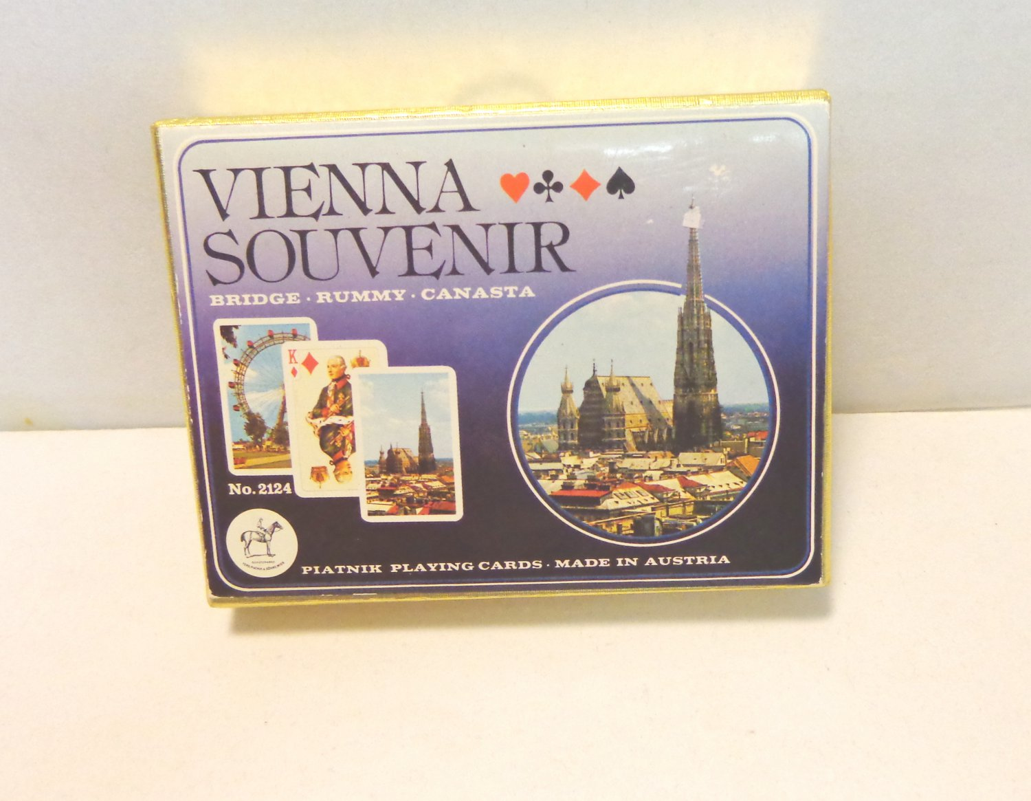 sold 7-15-19 Double deck playing cards Vienna Austria souvenir boxed vintage 1590vf