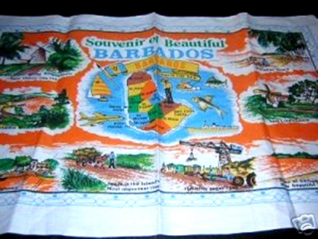 Vintage souvenir of Barbados cotton towel #1 orange vintage linens 1275vf