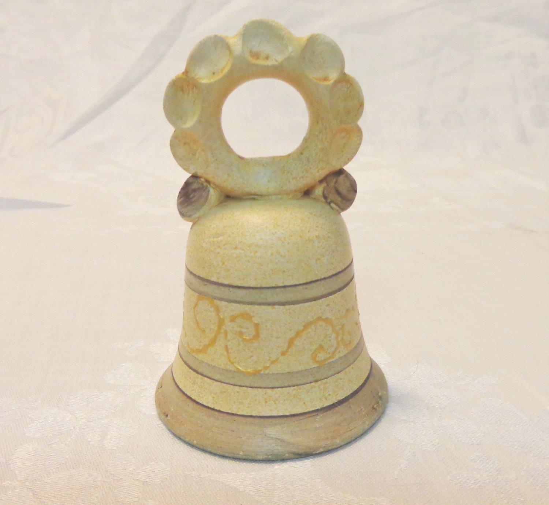 Handmade clay souvenir bell Bristow Malta tan perfect vintage vf1599