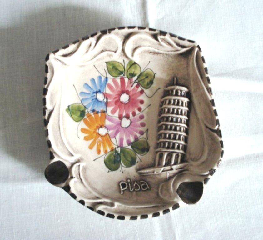 Ceramica Artigiana souvenir ashtray Pisa marked C Albani R S Marino 1068vf