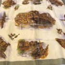 Souvenir scarf from Venice Italy Venezio monuments and churches vintage acetate  1607vf
