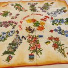 Provencial flags and flowers of Canada souvenir scarf vintage acetate  1608vf