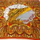 Mont St. Michel souvenir scarf vintage acetate large paisley border  1609vf