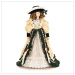 Porcelain Doll in Velvet and Ivory Dress #37100