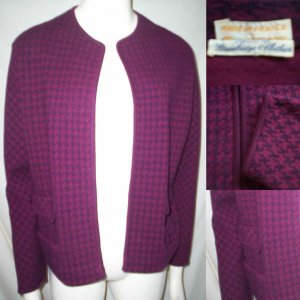 VINTAGE 60's FRENCH BOX JACKET TOPPER Purple Navy Wool Sz Large / Extra Large * Free Shipping