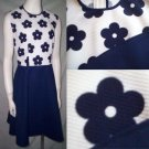 VinTagE 70's FLOWER POWER DRESSPolyester Navy & White * GRoOvy! * Women's Size Large