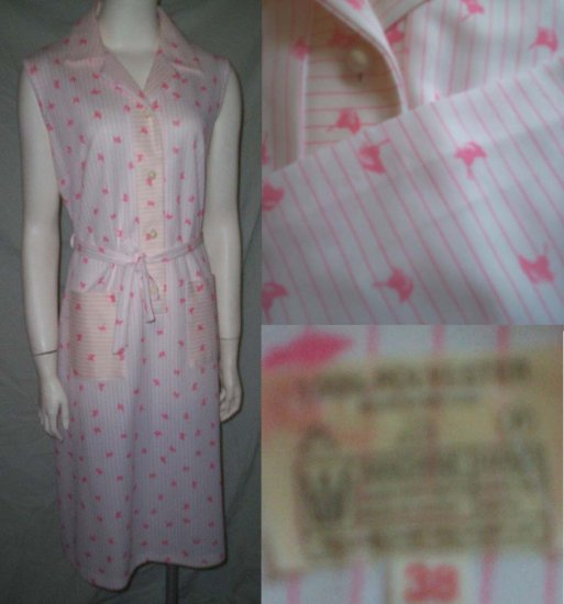 VinTagE 70's Pink & White Print Shirt Dress * Stunning Polyester Tie Dress * Women's Size Large