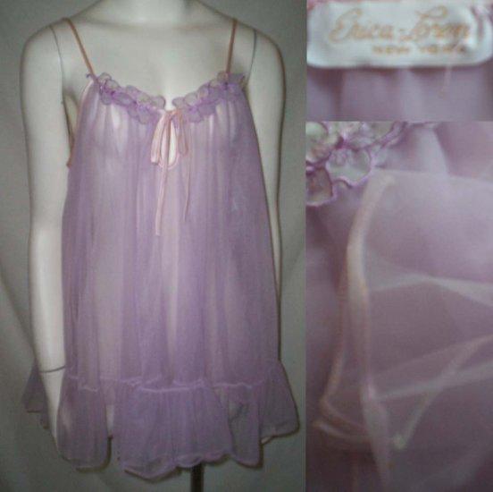 VinTagE ERICA LOREN BABYDOLL NIGHTIE * Frothy Lavender & Pink Shortie * Women's Size Medium