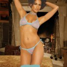 PINK AND  BLUE STRIPED LINGERIE SET, 4 PC SET
