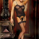 BLACK FISHNET CAMISETTE, 4 PC SET-PLUS SIZE