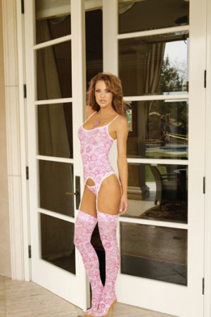 PINK/WHITE HEART PRINT CAMISETTE, 4 PC SET