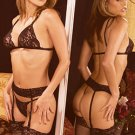 BLACK- BRA, PANTY, GARTER SET- 5 PC SET