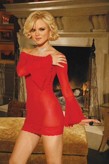 RED-BELL SLEEVE MESH MINI DRESS-G-STRING-NAUGHTY